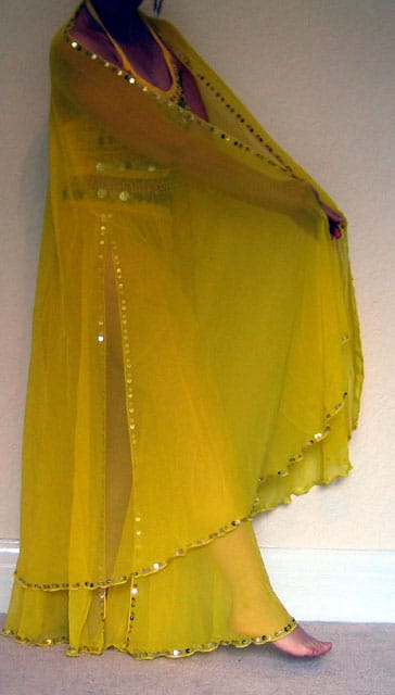 Yellow-Chiffon-skirt-and-ve