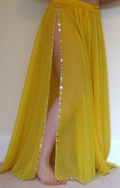 Yellow-Chiffon-skirt